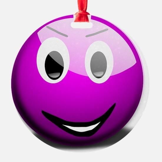 Purple Smiley Ornament
