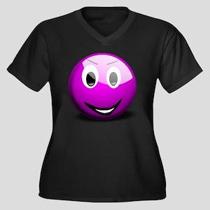 Purple Smile Women's Plus Size V-Neck Dark T-Shirt