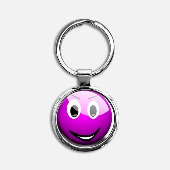 Purple Smiley Round Keychain
