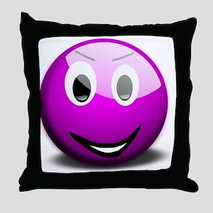 Purple Smiley Throw Pillow