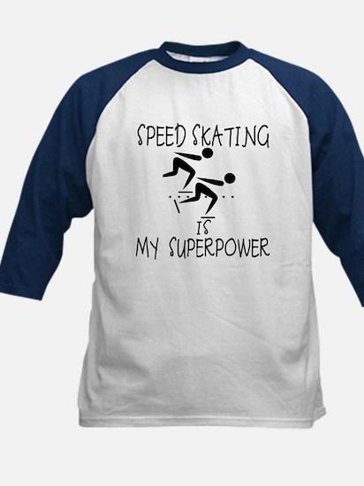 SPEEDSKATING is My Superpower Kids Baseball Jersey