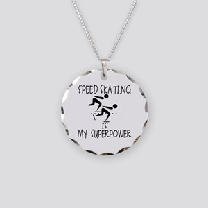 SPEEDSKATING is My Superpower Necklace Circle Char