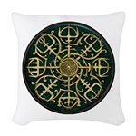 Nordic Guidance - Green Woven Throw Pillow