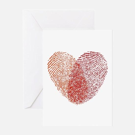 Red fingerprint heart Greeting Cards