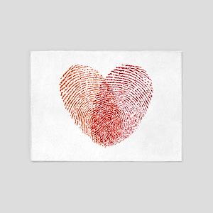 Red fingerprint heart 5'x7'Area Rug