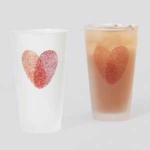 Red fingerprint heart Drinking Glass