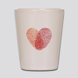 Red fingerprint heart Shot Glass