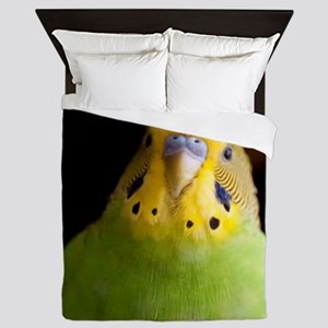 Green Parakeet Queen Duvet