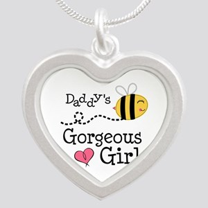 Bumble Bee Daddys Girl Silver Heart Necklace