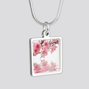 Flowers Water Reflection Silver Square Necklace