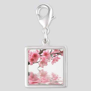 Flowers Water Reflection Silver Square Charm