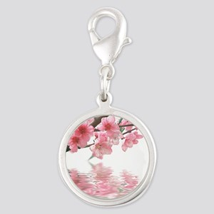 Flowers Water Reflection Silver Round Charm