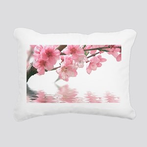 Flowers Water Reflection Rectangular Canvas Pillow