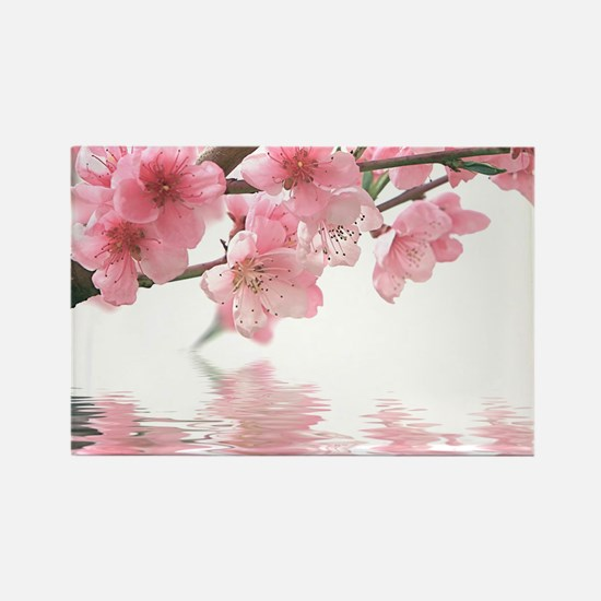 Flowers Water Reflection Rectangle Magnet