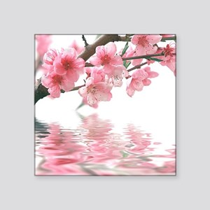 "Flowers Water Reflection Square Sticker 3"" x 3"""