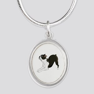 Boston Terrier Silver Oval Necklace