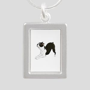 Boston Terrier Silver Portrait Necklace