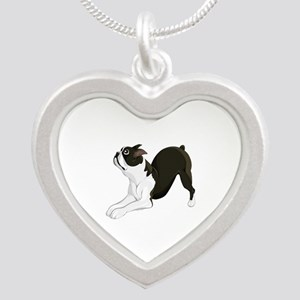 Boston Terrier Silver Heart Necklace