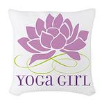 yoga girl Woven Throw Pillow