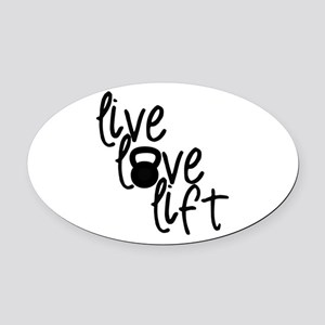 Live, Love, Lift Oval Car Magnet