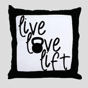 Live, Love, Lift Throw Pillow