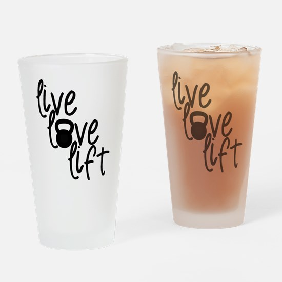 Live, Love, Lift Drinking Glass