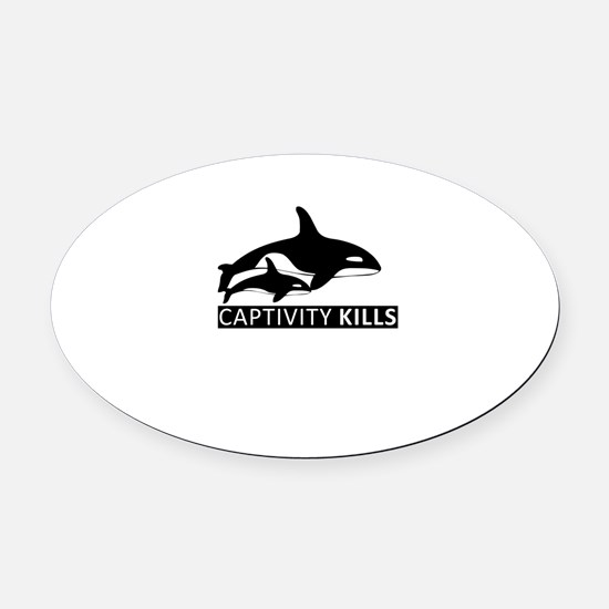 Save the Whales Oval Car Magnet