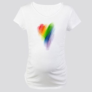 watercolor-rainbow-heart_tr Maternity T-Shirt