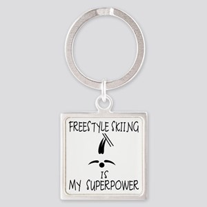 FREESTYLE SKIING is My Superpower Square Keychain