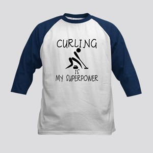 CURLING is My Superpower Kids Baseball Jersey