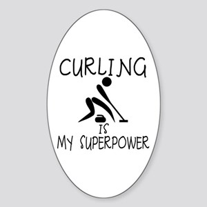 CURLING is My Superpower Sticker (Oval)