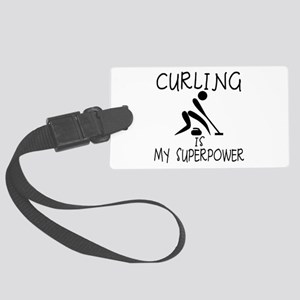 CURLING is My Superpower Large Luggage Tag