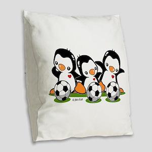 Soccer Penguins Burlap Throw Pillow