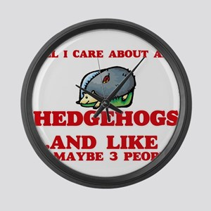 All I care about are Hedgehogs Large Wall Clock