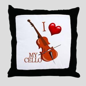 I Love My CELLO Throw Pillow