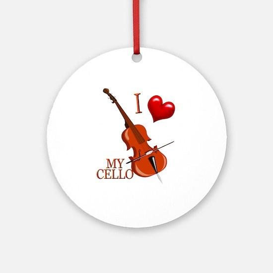 I Love My CELLO Ornament (Round)