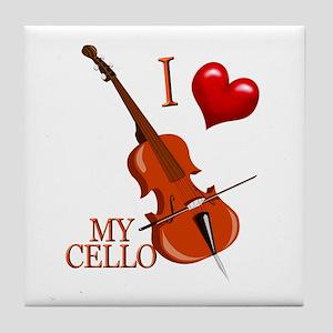 I Love My CELLO Tile Coaster