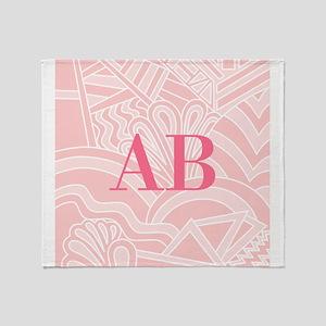 Pink Art Deco Style Monogram Design Throw Blanket