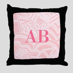 Pink Art Deco Style Monogram Design Throw Pillow