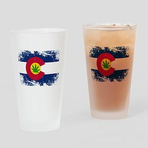 Colorado Marijuana Flag Drinking Glass