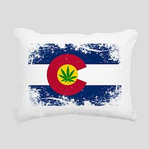 Colorado Marijuana Flag Rectangular Canvas Pillow