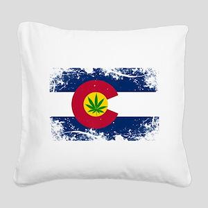 Colorado Marijuana Flag Square Canvas Pillow