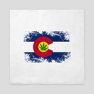 Colorado Marijuana Flag Queen Duvet