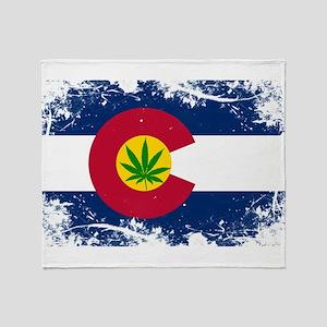Colorado Marijuana Flag Throw Blanket