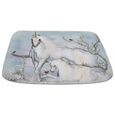 Winter Robins And Unicorns Bathmat