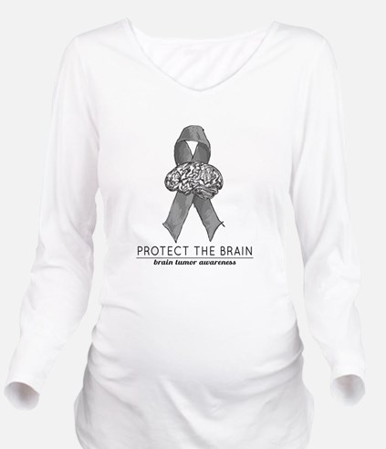 Protect the Brain Long Sleeve Maternity T-Shirt