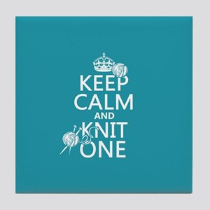 Keep Calm and Knit One Tile Coaster
