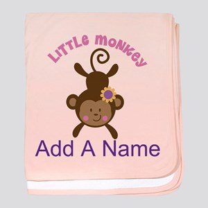 Girl Monkey Personalized baby blanket