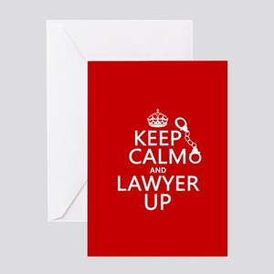 Keep Calm and Lawyer Up Greeting Cards