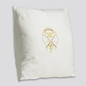 Ice Fishing Design Burlap Throw Pillow